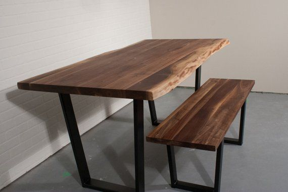 Strange Live Edge Dining Table And Dining Bench Set On Steel Legs Creativecarmelina Interior Chair Design Creativecarmelinacom