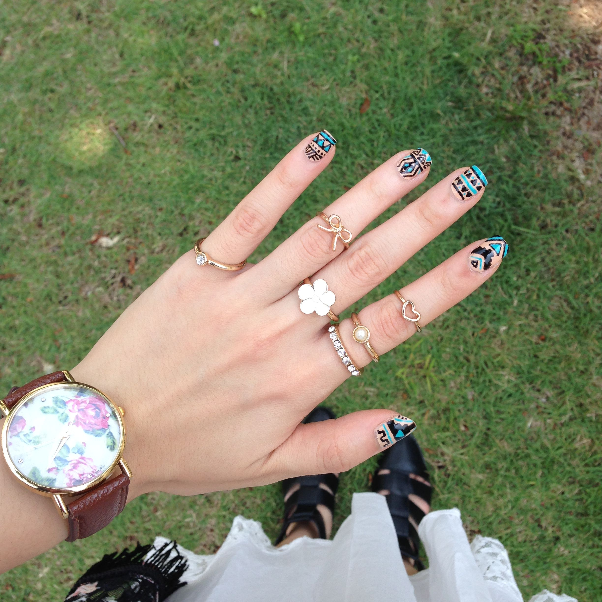 nude tribal aztec nails with black and turquoise | personal diy ...