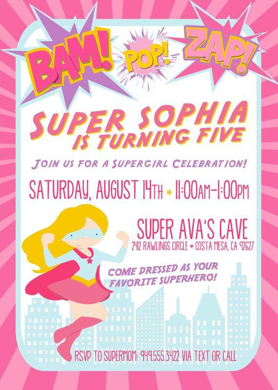Custom Supergirl Birthday Invite Superhero By Aprettylittleparty