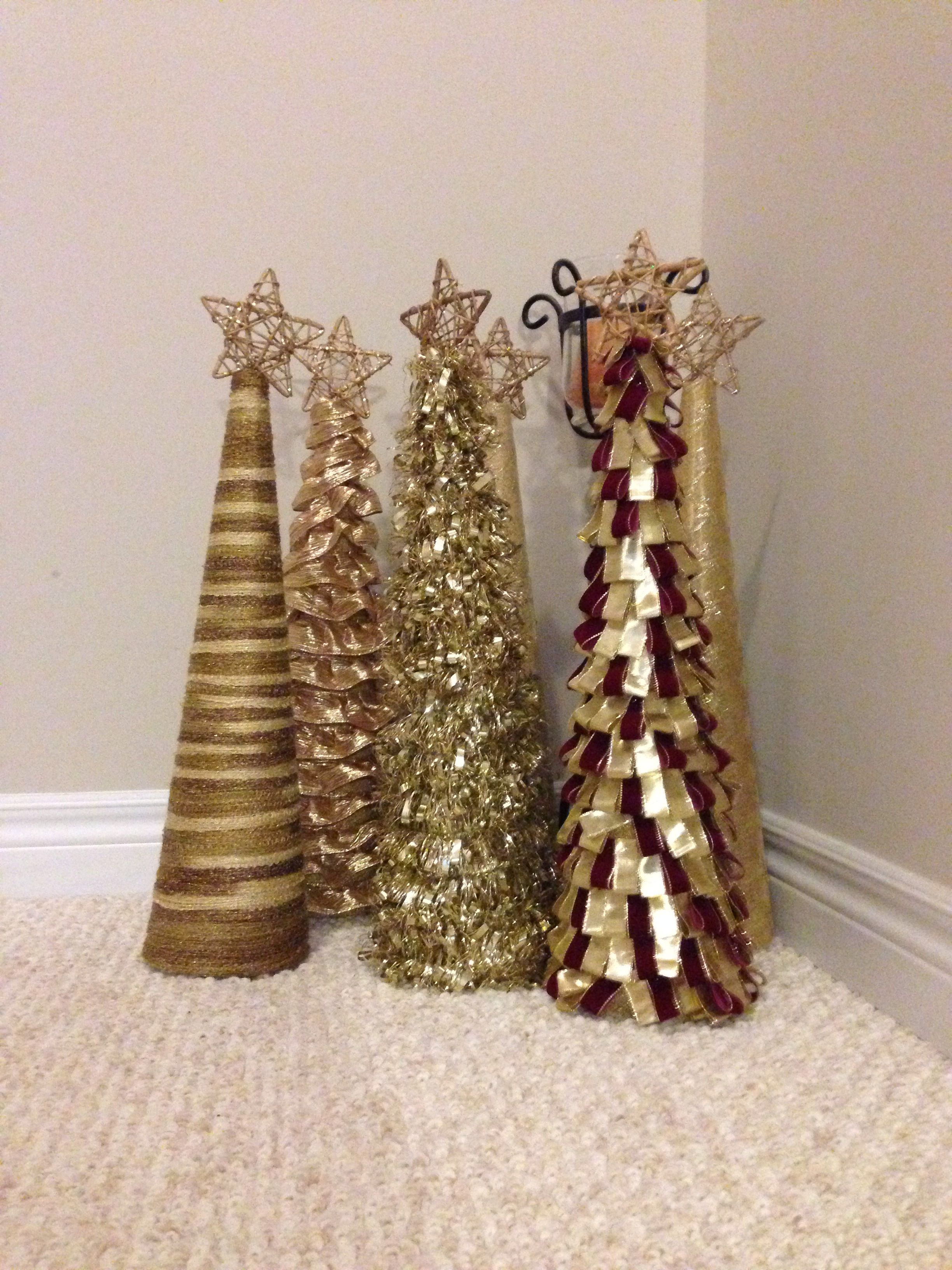 Styrofoam Cone Christmas Trees Wrapped In Yarn Tinsel Garland Wired Ribbon Or Sparkly Fabric Us Cone Christmas Trees Christmas Cones Holiday Christmas Tree