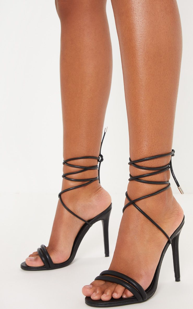 Black Strappy Leg Tie Heeled Sandal