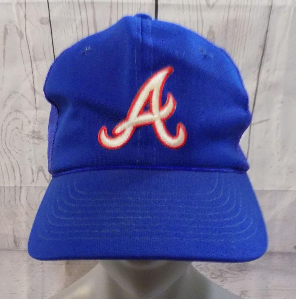 Atlanta Braves Mlb Young An Vtg Blue Embroidered Mesh Snapback Trucker Cap Hat Youngan Atlantabraves Hats Baseball Hats Trucker Cap