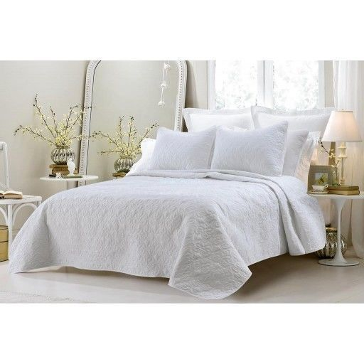 Oversized 3pc Quilted Coverlet Set White King Cherry Hill Collection