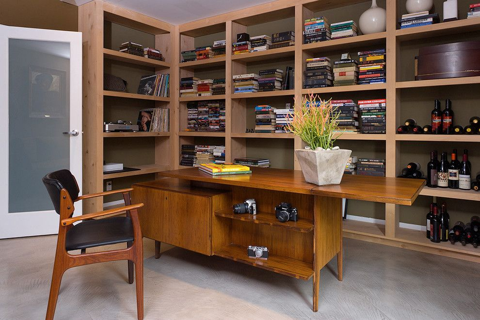 Mid Century Modern Desk Home Office Modern With Book Bookcase Bookshelves  Built In