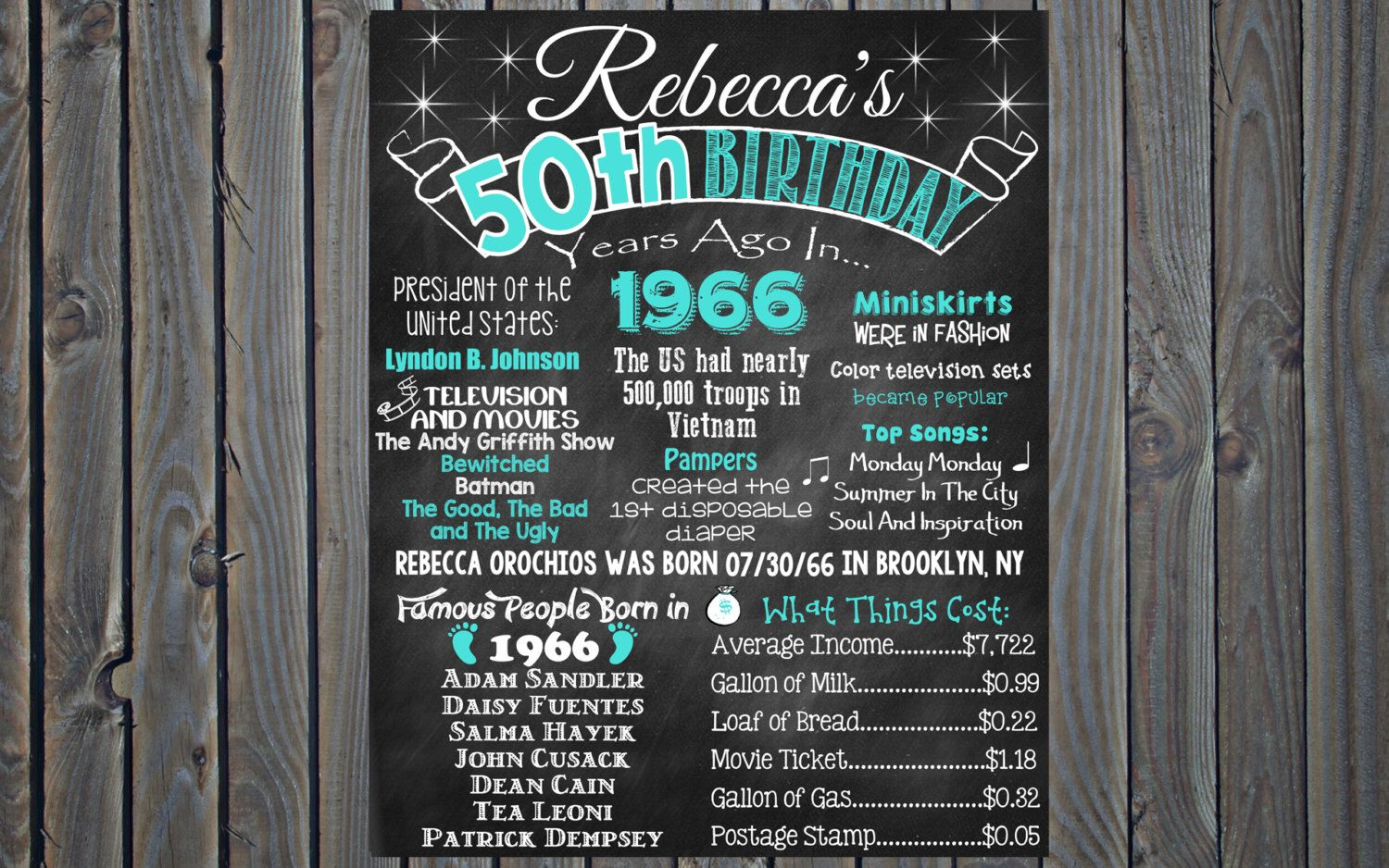 50th birthday chalkboard 1968 poster 50 years ago in 1968 born in 1968 50th birthday gift diy - Geburtstagsideen 50 ...