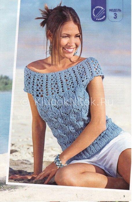 синий топ с круглой кокеткой вязание для женщин вязание спицами
