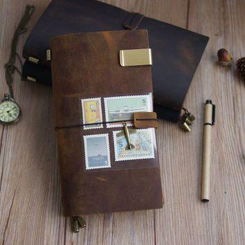Handmade Vintage Genuine Leather Adventure Travel Journal Notebook Midori Style