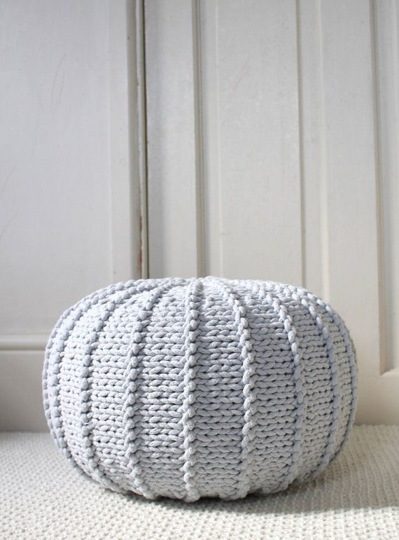 Small Light Grey Floor Pouf Ottoman Knitted Pouf Knit Pouf Simple Knitted Poufs Ottomans