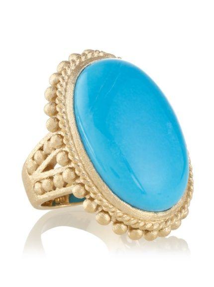 Rivka Friedman Turquoise Magnesite Beaded Bezel Ring $38
