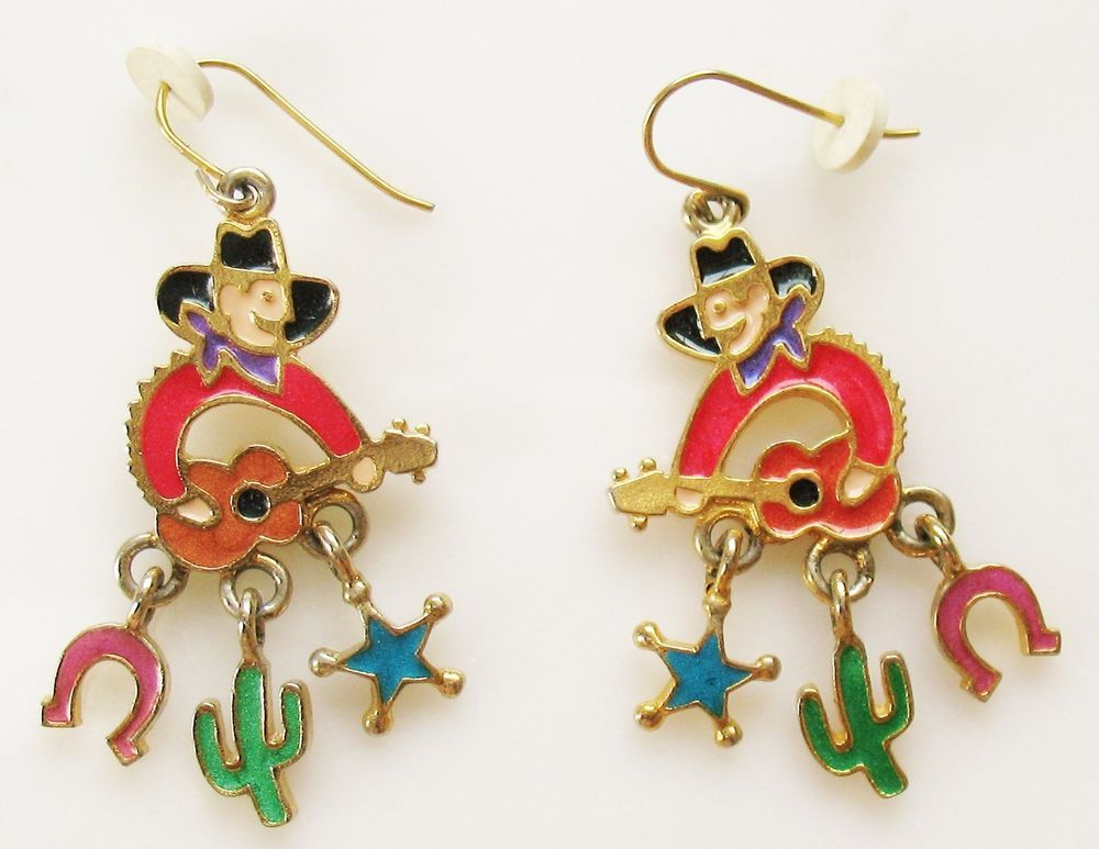 Vintage EB EDGAR BEREBI Colorful Enamel Western Cowboy Charm Earrings #edgarberebi #DropDangle