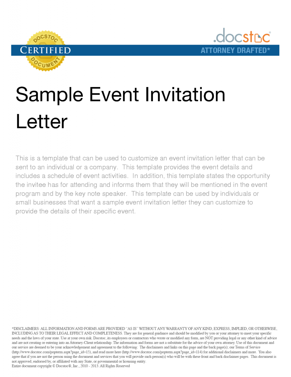 Business event invitation letter sample maintenance contract business event invitation letter sample maintenance contract invoice receipt formal for stopboris Image collections