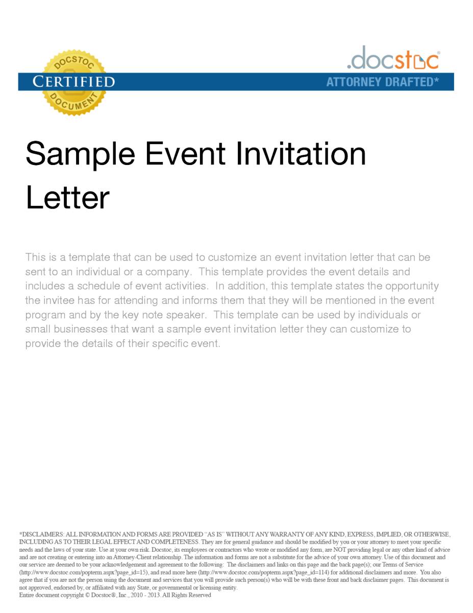 business event invitation letter sample maintenance