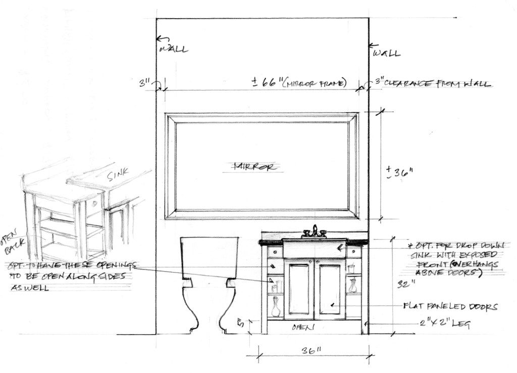Shop drawing for custom bath vanity & large mirror for