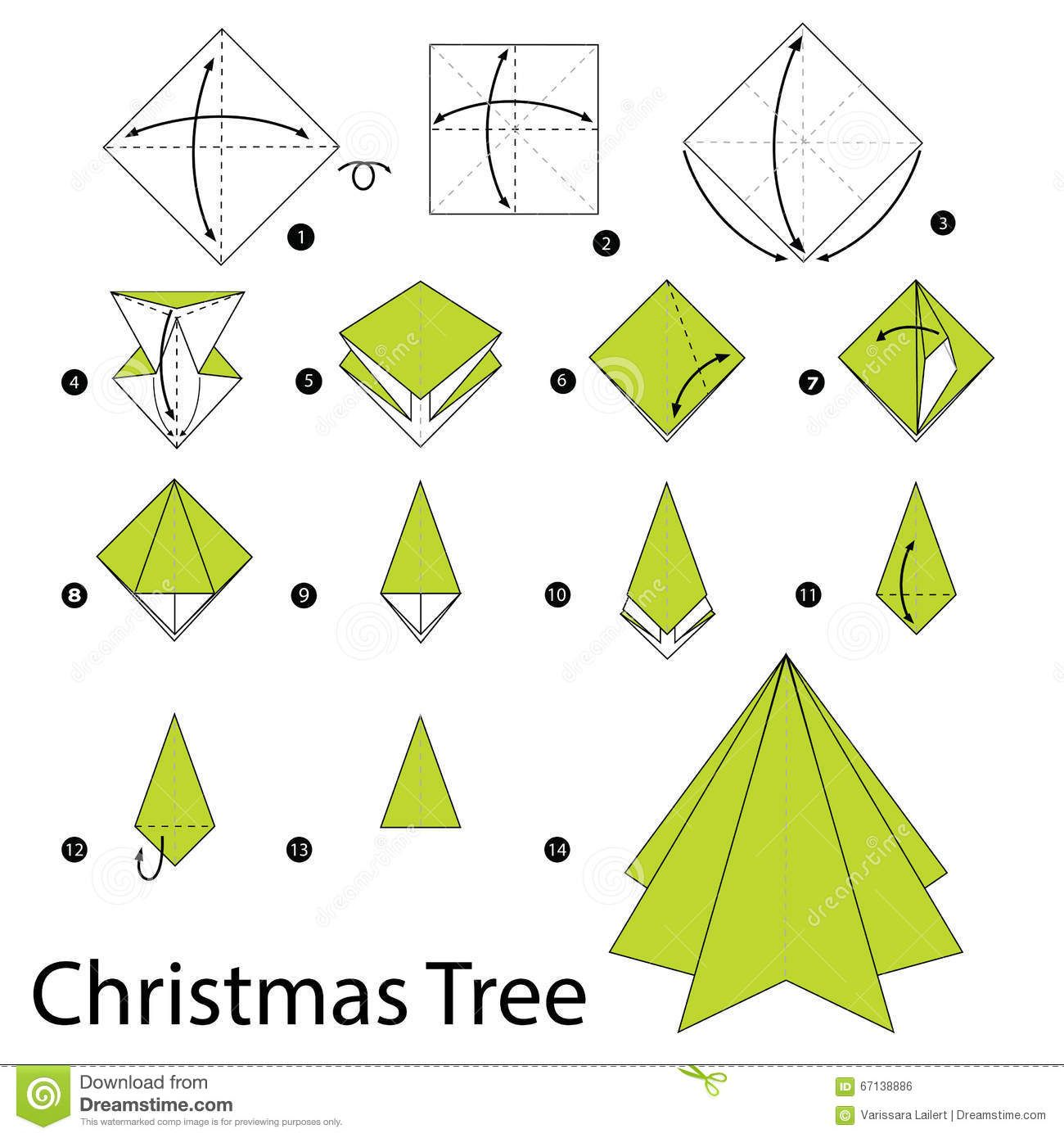 Step By Instructions How To Make Origami Christmas Tree Stock Diagrams Vector Image 67138886