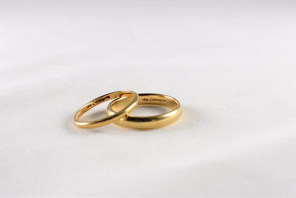 Lohengrin 14K Yellow Gold Wedding Rings 54g Matching Pair Size 8
