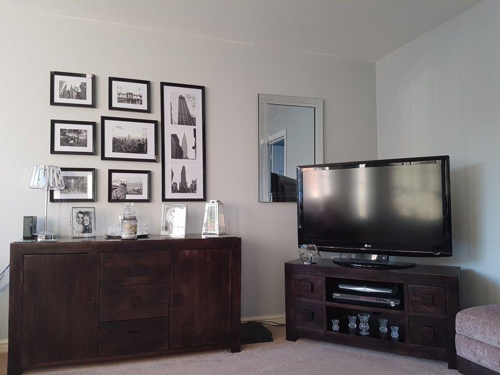 dulux goose down grey with dark wood in living room. Black Bedroom Furniture Sets. Home Design Ideas