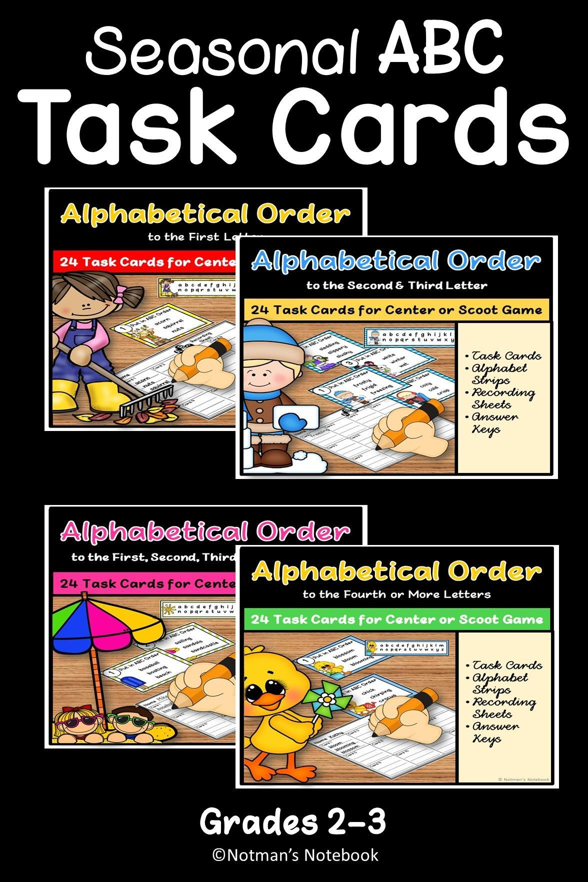 Abc Order Task Cards Bundle