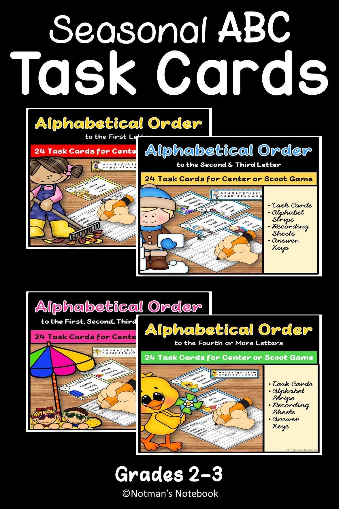 Abc Order Task Cards Bundle