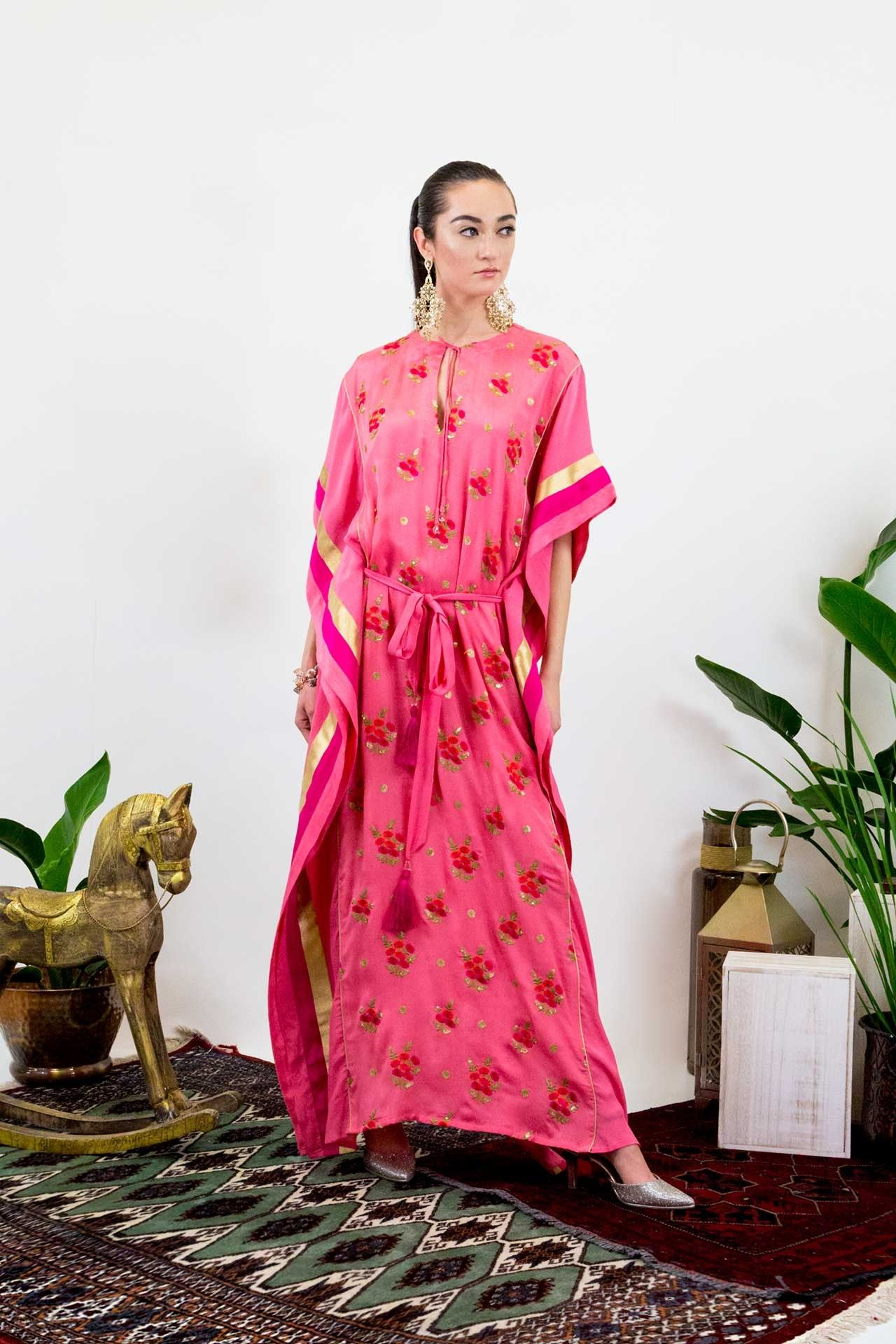 Floral embroidered pink long kaftan kaftans kaftan and long kaftan
