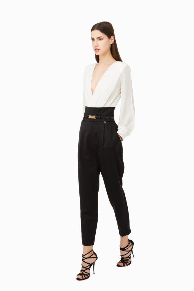86200971461a Pantaloni neri vita alta con cintura ( linea morbida)