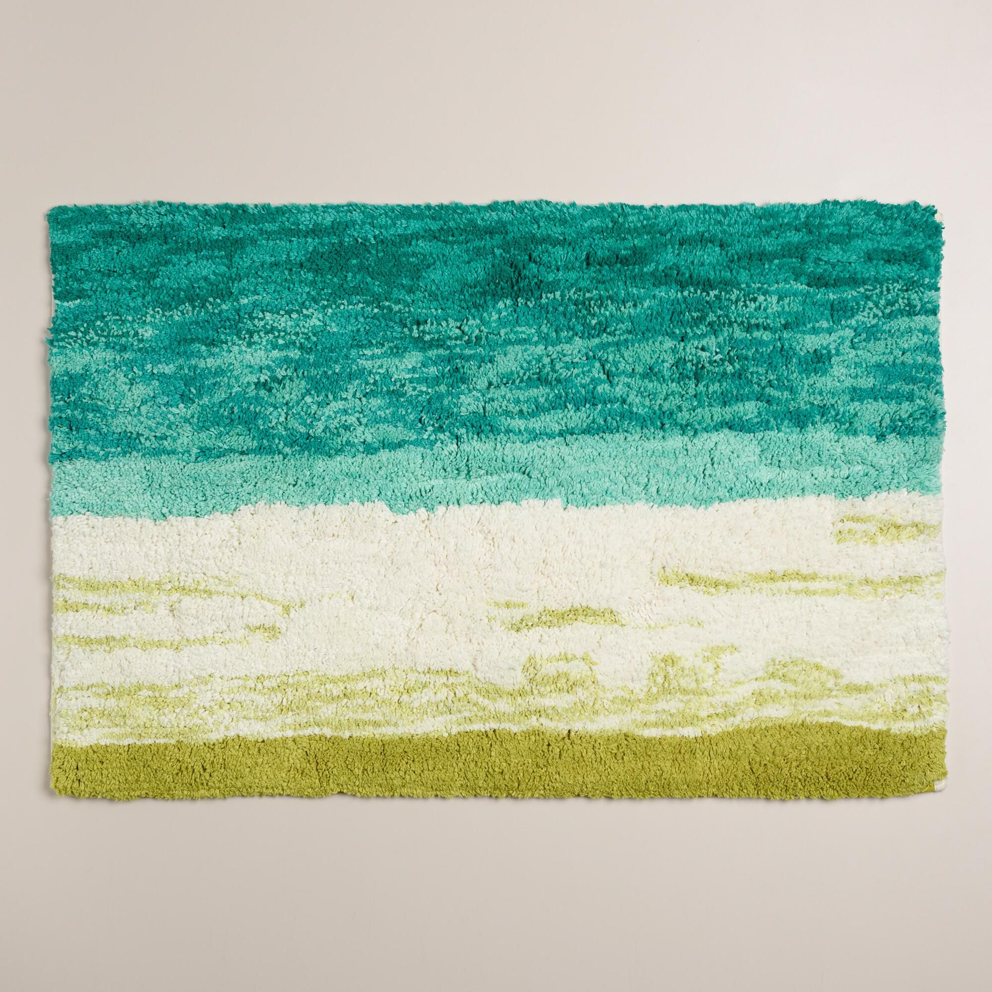 Sea Blue And Moss Ombre Tufted Bath Mat Bath Mat Bath And - Quality bath rugs for bathroom decorating ideas
