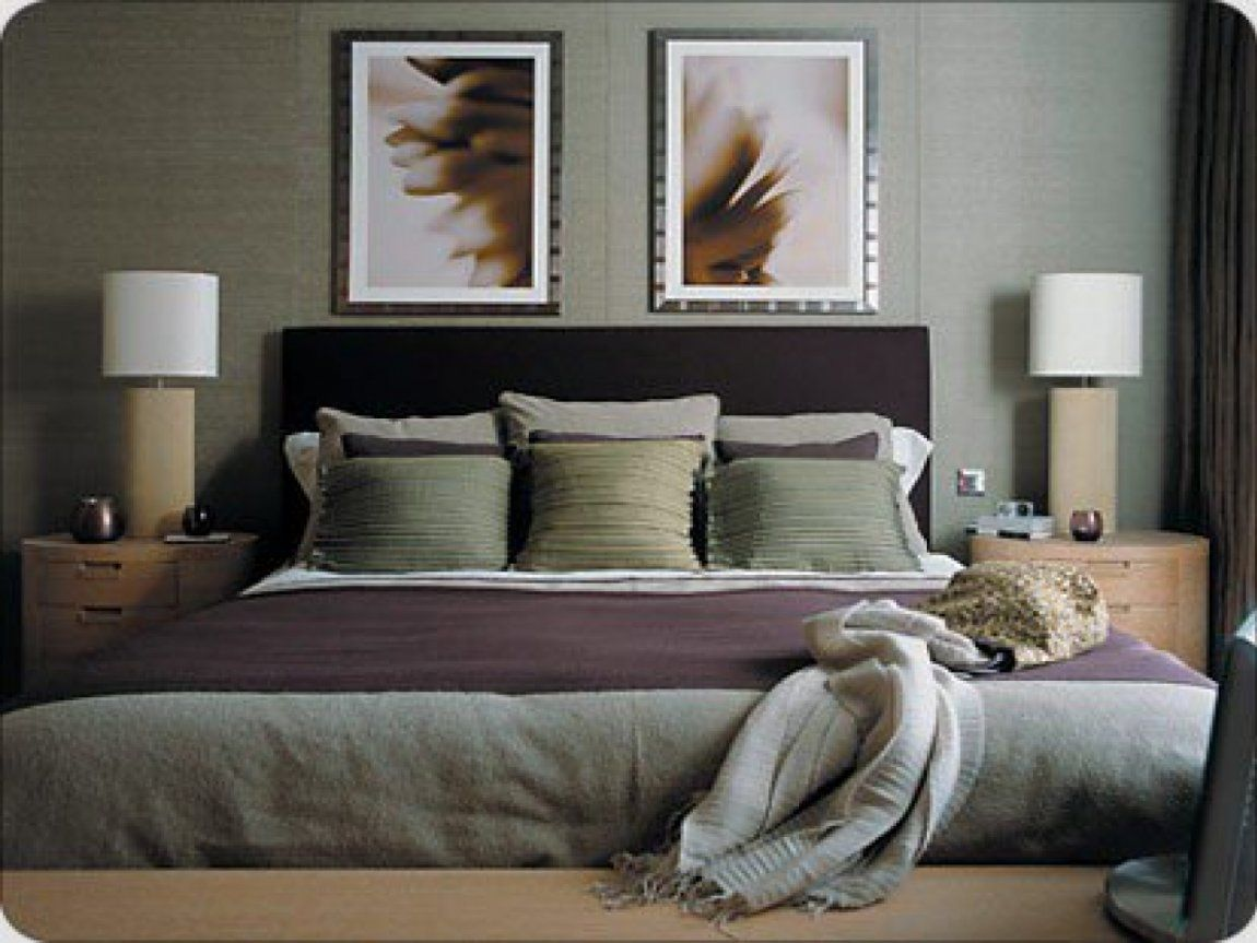 green and gray bedroom