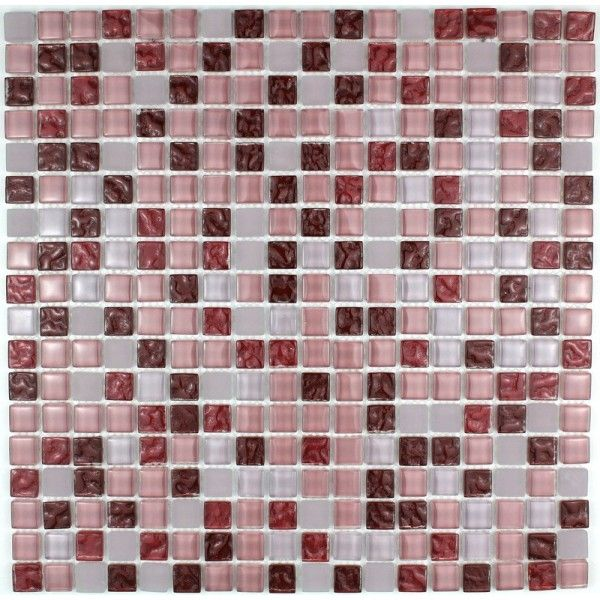 Carrelage mosaique verre hammam 1 plaque opus rouge for Carrelage mosaique rouge