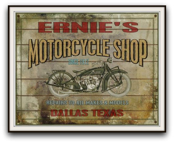 Vintage Motorcycle Shop Personalized Sign Add By Southcoaststudio Motorcycle Shop Vintage Motorcycle Personalized Signs