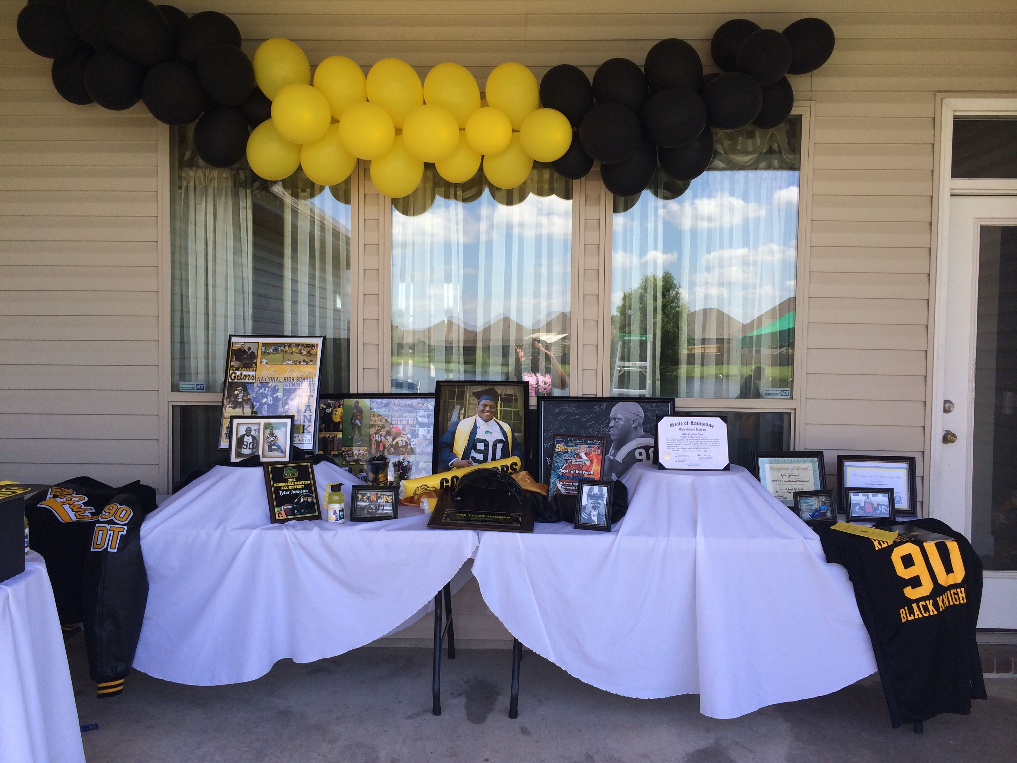 Graduation Display Table Include Awards Scholarships Diploma Pictures Letterman Jacket