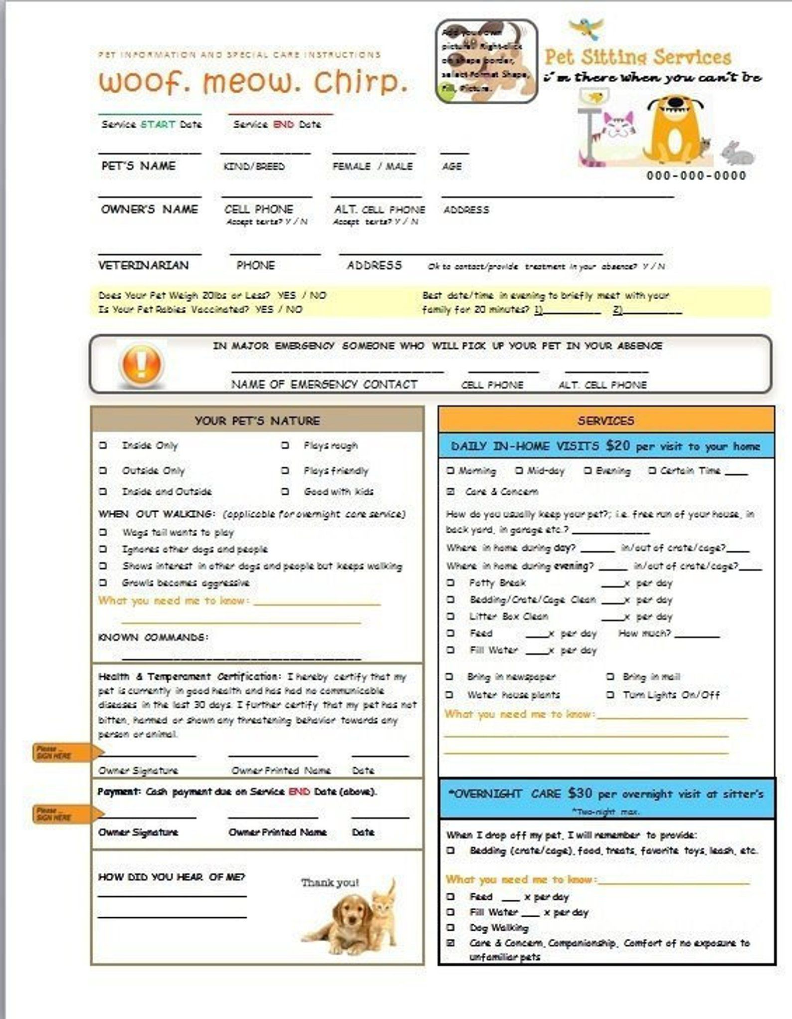 Pet Sitting and Dog Walking Form customizable plus add