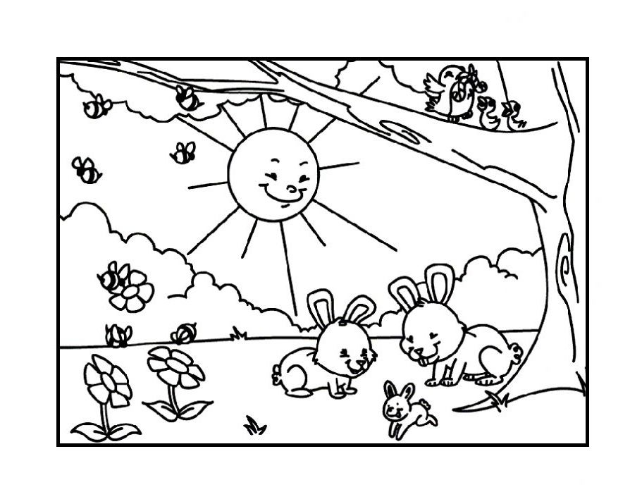 the animals happy spring coloring picture for kids spring spring coloring pages coloring. Black Bedroom Furniture Sets. Home Design Ideas