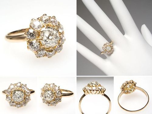 Victorian Era Antique Old Miner Cut Diamond Halo Engagement Ring Solid 14k Gold Eragem