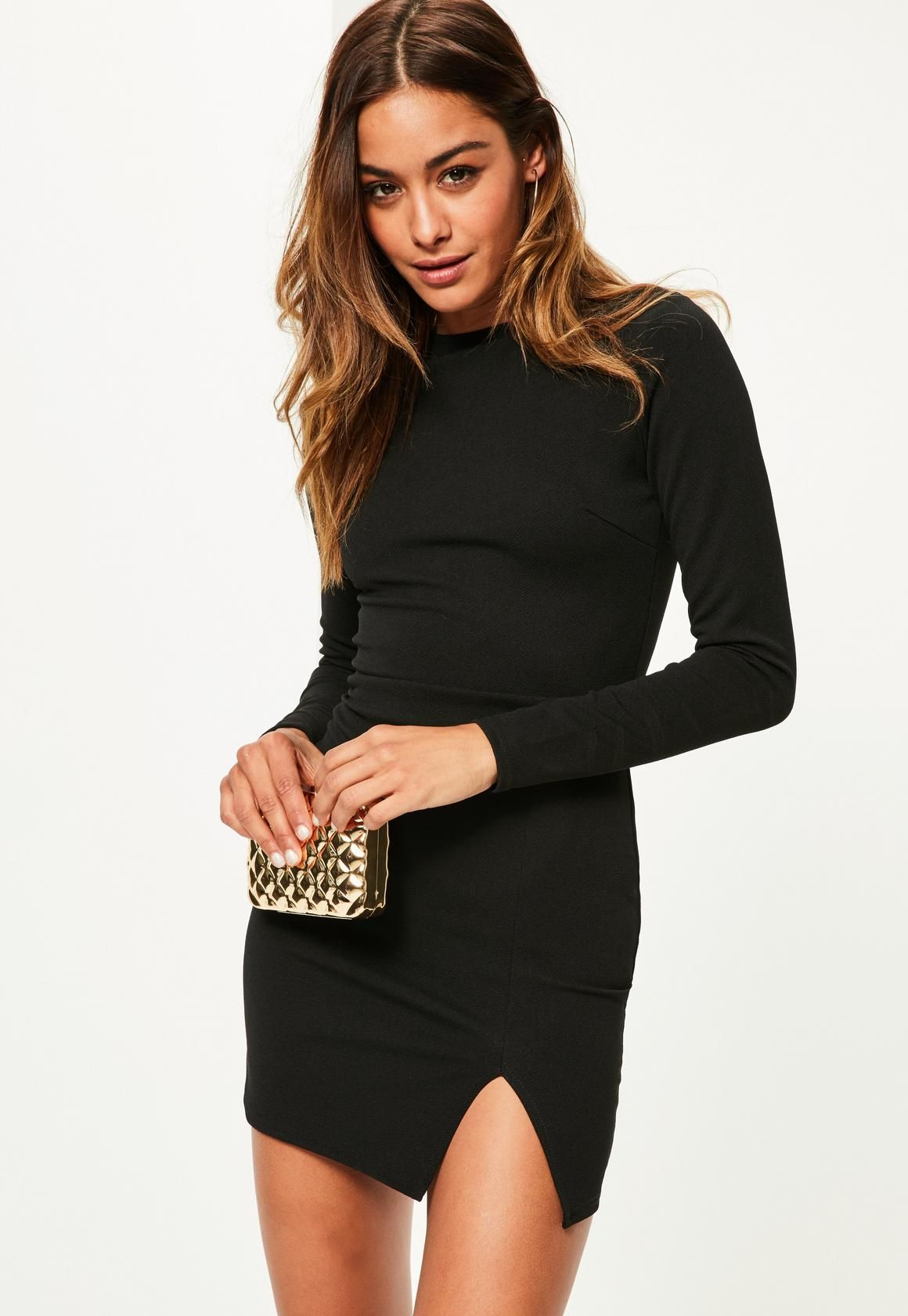 Black crepe long sleeve bodycon dress pinterest bodycon dress