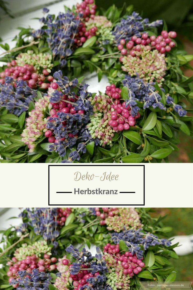 Deko-Idee: Herbstkranz und florales Dekoherz. Mehr Ideen? Wochenendtipps #herbstdekotisch