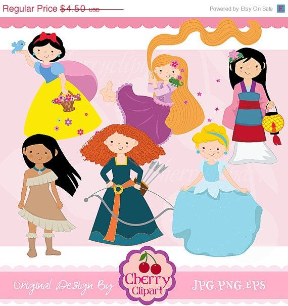 Fairytale Princess 2 -Digital Clipart Set for-Personal and ...