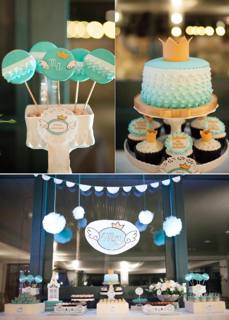Ngel prince bautizo tem tica o 1 fiesta de cumplea os a for Baby boy baptism decoration ideas