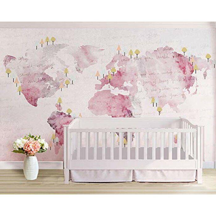 Juliann World Map Textile Texture Wall Mural Textured