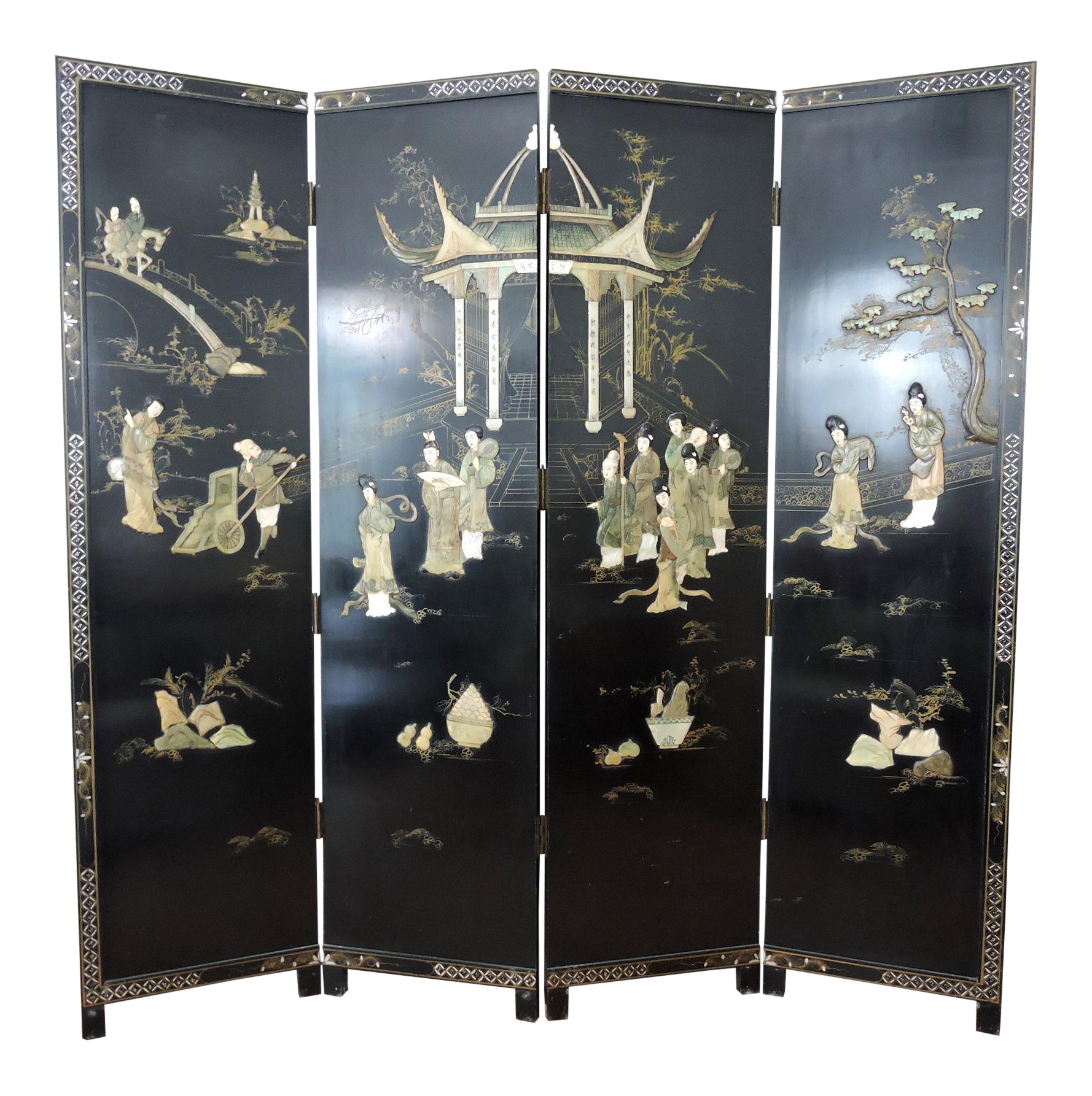 Antique Chinese Black Lacquer Jade Screen Room Divider Garden