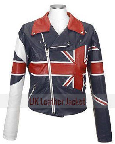 Buy British Flag Union Jack Biker Leather Jacket For Men