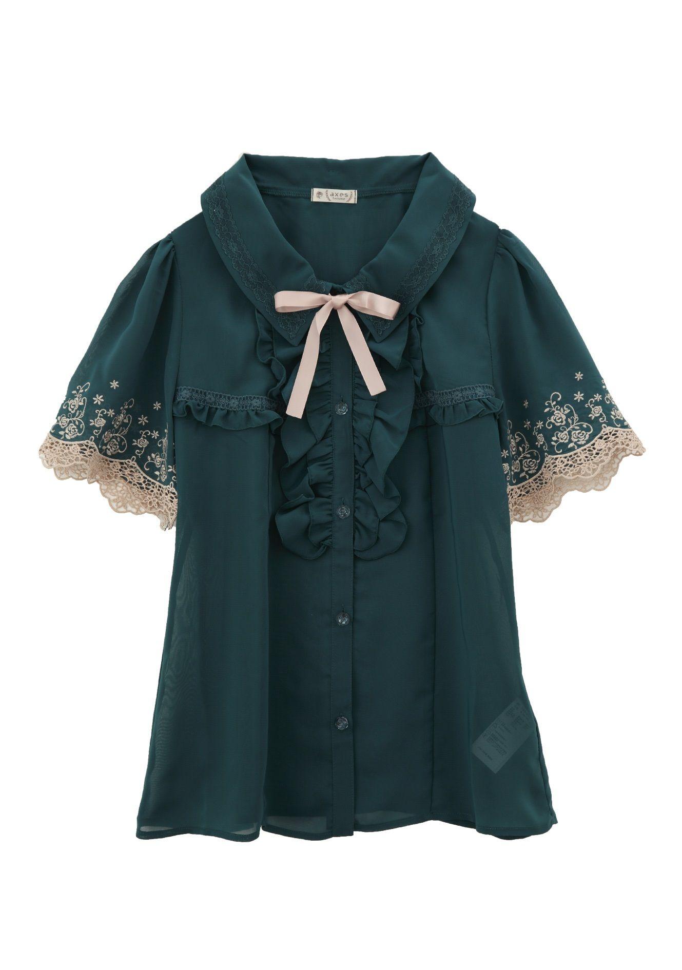 袖バラ刺繍ブラウス