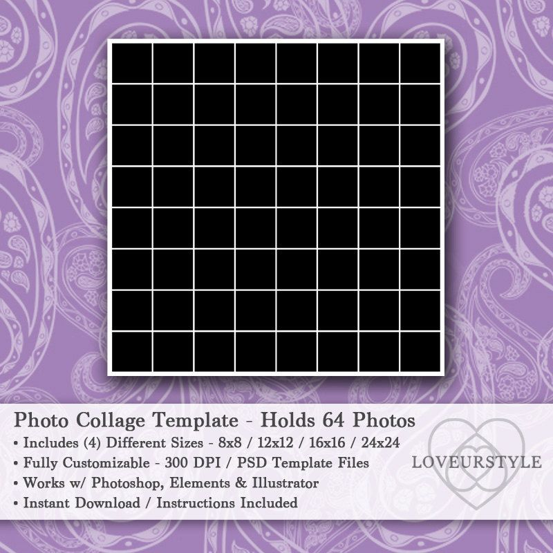 Photo Collage Templates Holds 64 Photos 4 Sizes 8x8 12x12 16x16 24x24 Included Photo Template P Photo Collage Template Collage Template Poster Template