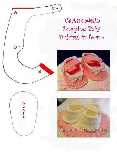 tutorial scarpine in pasta di zucchero con cartamodello templates pasta and baby shoes. Black Bedroom Furniture Sets. Home Design Ideas