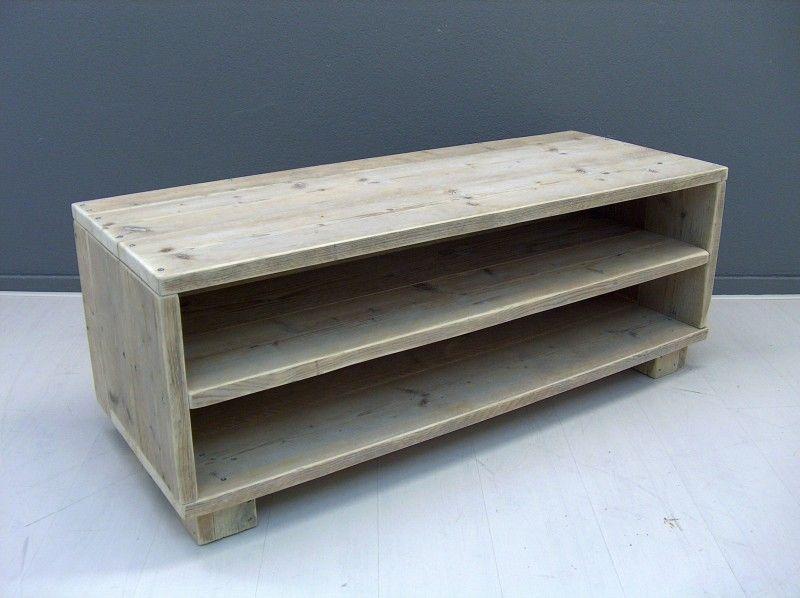 Tv meubel van steigerhout voorzijde open met schap. | De woonkamer ...