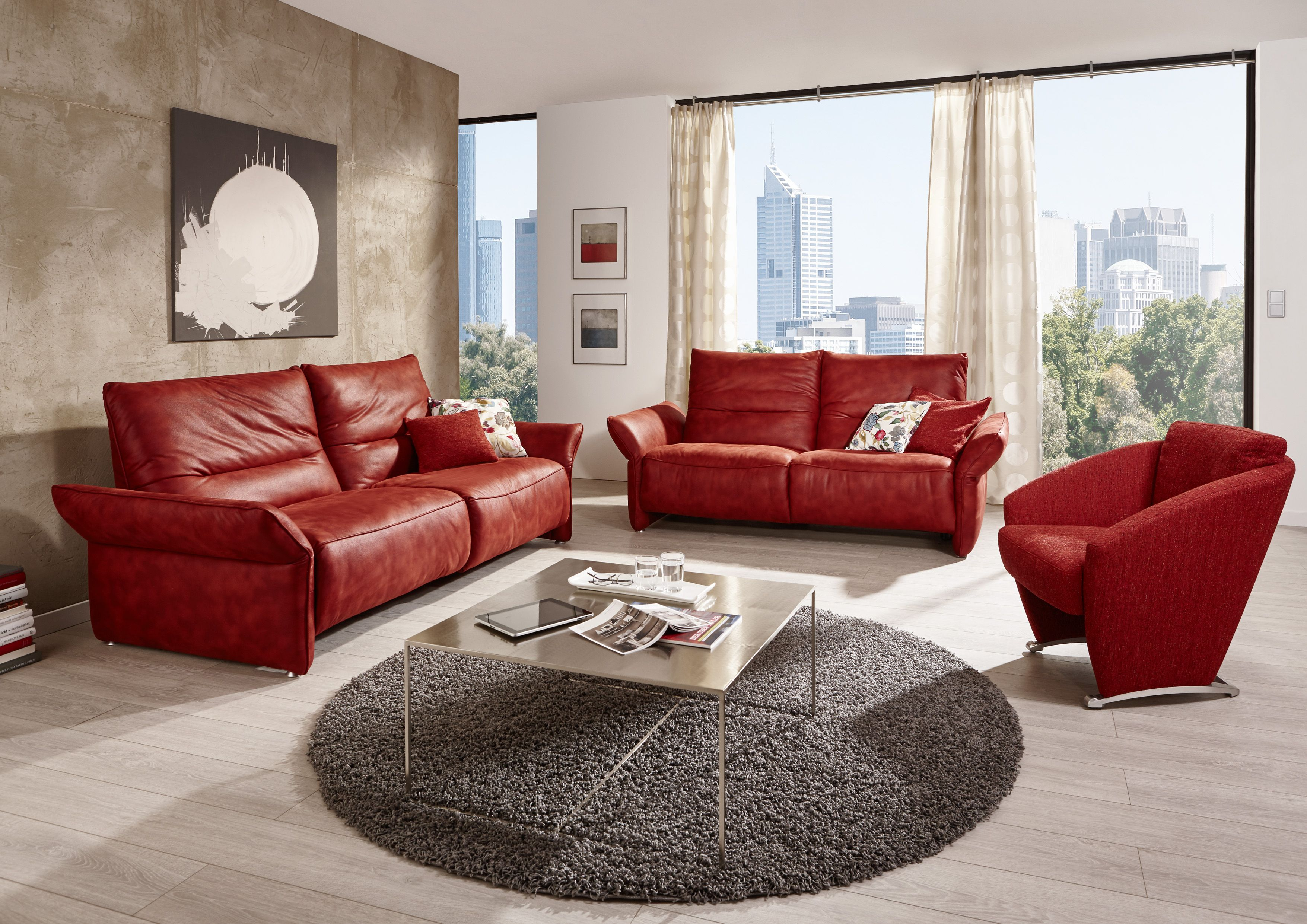 Red Leather Living Room Sofa Furniture Designs With Black Round Rug Metal  Coffee Table