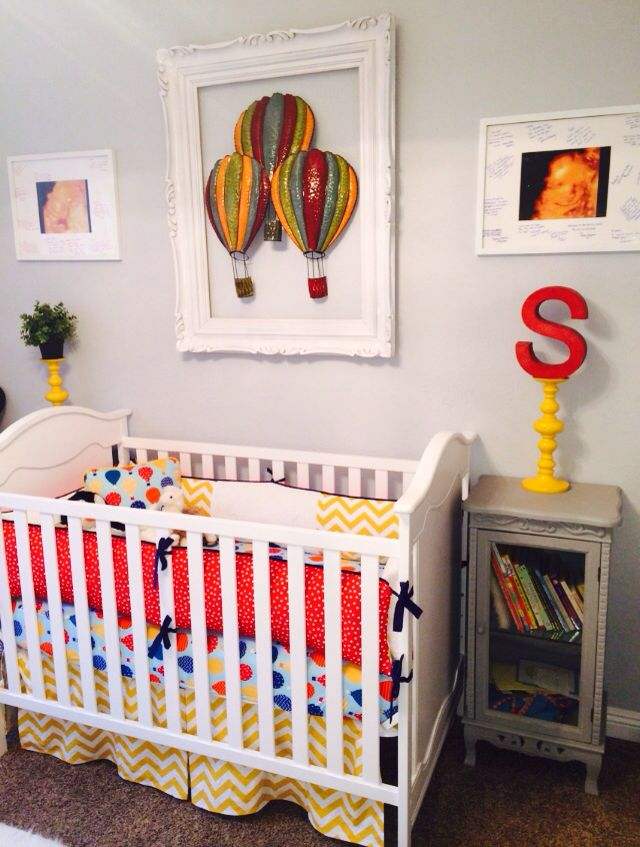 Crib Bedding Baby Boy Rooms: Hot Air Balloon Nursery. Babies Room. Chevron. Yellow