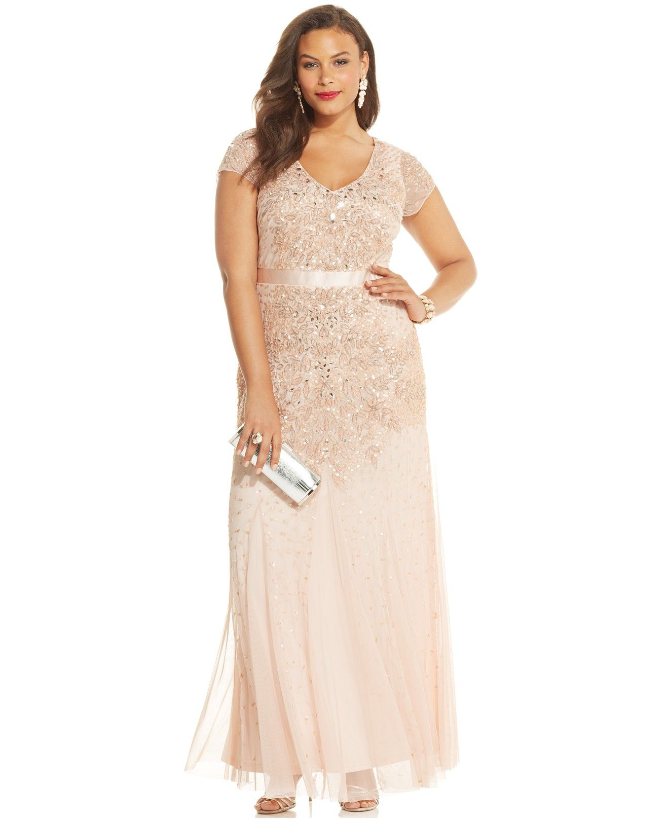 Adrianna Papell Plus Size Cap-Sleeve Embellished Gown ...