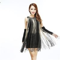 fc24e69bc2 GREAT GATSBY OMBRE METAL HALTER-NECK BLACK FRINGE BEADED 1920S ...