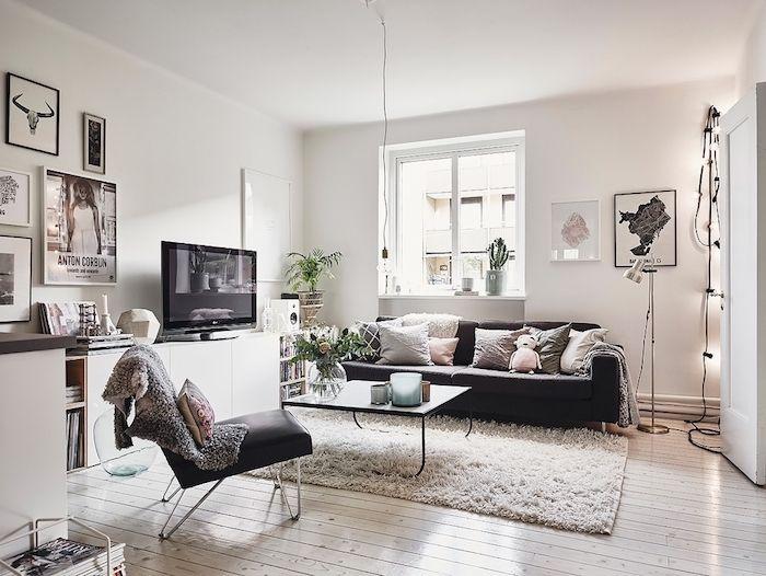 deco salon style scandinave tapis moelleux blanc canap - Salon Avec Canape Noir