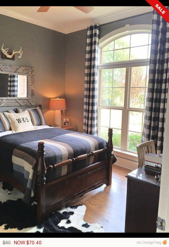 Image result for industrial farmhouse plaid bedroom ... on Farmhouse Bedroom Curtain Ideas  id=42879