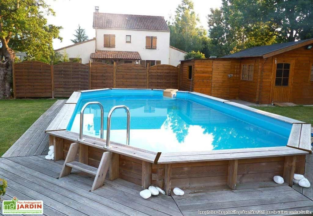 Piscine bois hors sol ovale oblong 390 x 620 cm for Dimension piscine semi enterree
